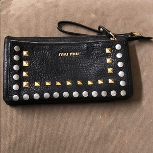 Miu Miu studded leather clutch/wristlet